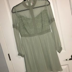 Mint Green Lace High Neck Fit and Flare Dress